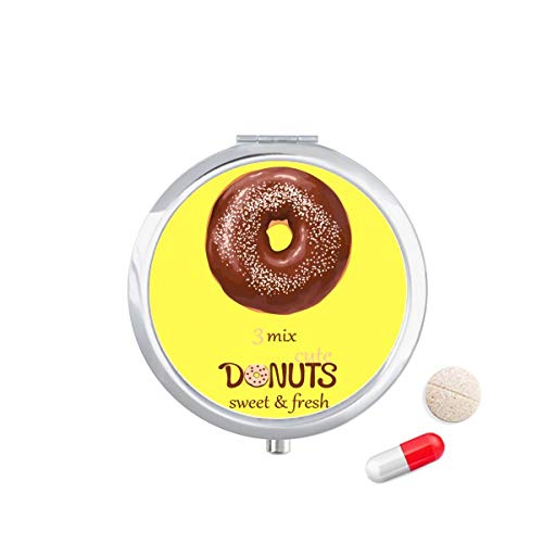 Doe-het-zelf denker chocolade donut dessert zoet eten reizen Pocket Pill Case Medicine Drug Opbergdoos Dispenser Spiegel Gift