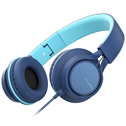 AILIHEN MS300 Wired Headphones with Microphone Folding Lightweight Headset for Cellphones Tablets Smartphones Chromebook Laptop Computer Zoom Skype Mp3/4 (Indigo)