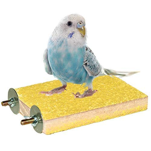 Yellow Bird Perch Stand Platform Natural Wood Playground Paw Grinding Clean for Pet Parrot Budgies Parakeet Cockatiels Conure Lovebirds