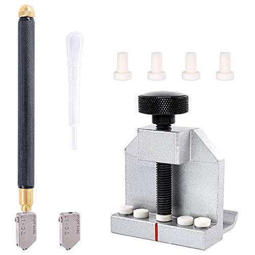 DXFFOK Conjunto de Herramientas de Corte de Vidrio de 8pcs con alicates de Vidrio y Herramienta de Corte de Cristal Kit de Herramientas de Vidrio Profesional (Color : Silver)