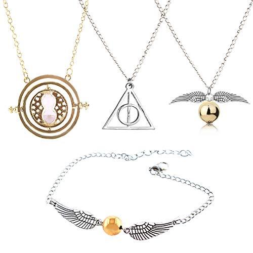 GeeVen - Collar de 4 piezas con colgante de cadena con diseño de las Reliquias de la Muerte de la Muerte de Snitch Time Turner para colecciones de regalos inspiradas en Harry