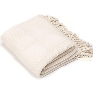 Battilo Inc Cable Knit Woven Luxury Throw Blanket with Tasseled Ends, 50 x 60  White