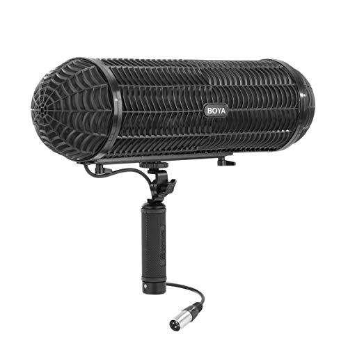 Boya BY-WS1000 Windschutzscheiben-Aufhängesystem mit Blimp-Mikrofon und XLR-Kabel für Flintenmikrofone mit einem Durchmesser von 20 bis 22 mm für Canon Nikon Camcorder Recorder