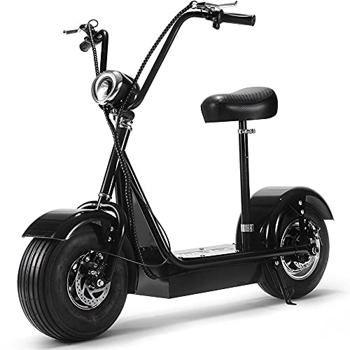"""Fatboy 800w Rear Hub Motor Electric Scooter with Seat and 15"""" Pneumatic Tires, Cruiser Scooter with Large Headlight, Max Capacity 250 lbs, Front and Rear Brakes"""