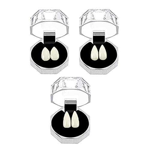 Galand Halloween Horror Party Dentures,3Pcs Werewolf Teeth Simulation Decorative Costume Accessories Creative Faux Teeth for Cosplay White 3 Pairs
