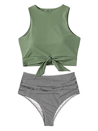 Sofia's Choice Zweiteiliger Badeanzug für Frauen mit Schnürung vorne, bauchfreies Oberteil und hohe Taille, Blumenmuster bedruckt, Bikini-Unterteil -  -  X-Large