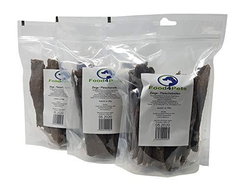 Food4Pets 3 x 250g Fleischstreifen für Hunde aus Ziegenfleisch - im wiederverschließbaren Beutel
