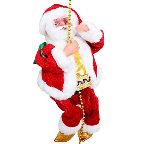 Qagazine Santa Claus cuerda de escalada eléctrica colgante juguete en cuentas cadena musical figura móvil adorno de Navidad para casa oficina puerta
