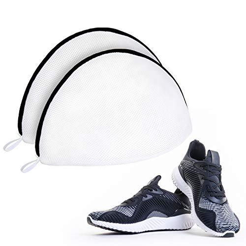 Syllana 2 PCS Bolsa de Lavadora para Zapatos, Bolsa de Lavandería para Zapatillas, Bolsa Lavado de Malla con Cremallera de Color Negro, Multiuso Bolsa de Colada para Lavar, Proteger y Organizar