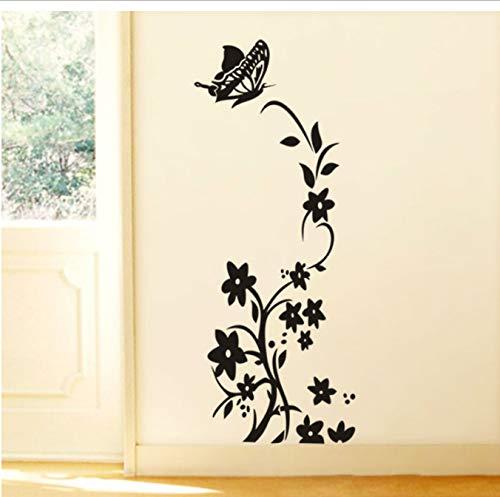 Etiquetas engomadas de la flor de la vid negra Frigorífico No tóxico Tatuajes de pared Pared de vinilo Pared 3D Mur Decoración del hogar 50 * 140 cm