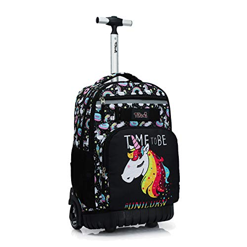 Tilami Rolling Backpack 18 inch Wheeled Laptop Backpack School College Student Travel Trip Boys and Girls, Unicorn Cute
