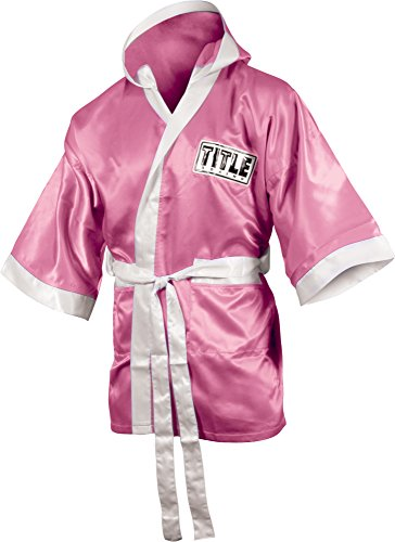 TITLE Boxing 3/4 Length Stock Satin Robe, Pink/White, Small
