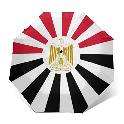 Automatischer Dreifach Faltbarer Regenschirm 3D Außen Gedruckt Deutsche Kaiserflagge Aufsteigende Sonne Fahne Winddicht UV-Schutz Regenschirme für den täglichen Gebrauch