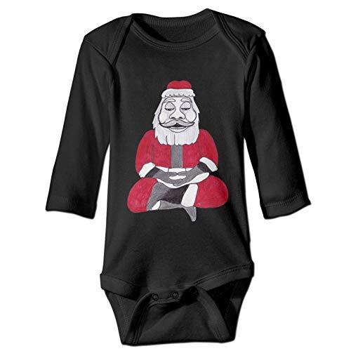 WINCR Santa-Buddha Unisex Baby Boys Girls Long-Sleeve Onesie Bodysuit One Piece Black