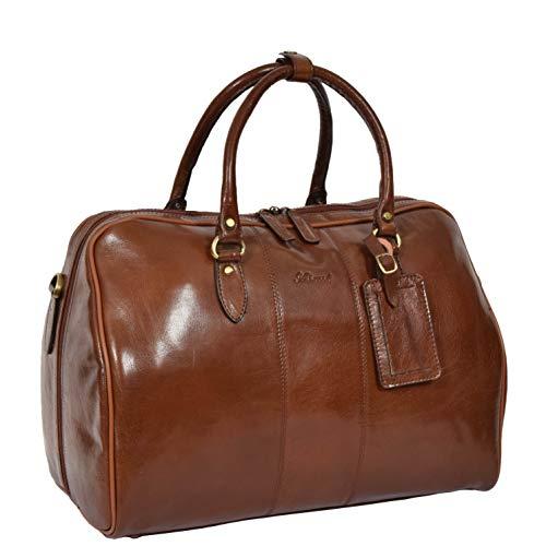 Real Leather Italian Buffalo Travel Holdall Bag Chestnut DRLB114