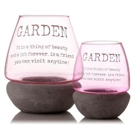 Jardin Rose 20 cm Bougeoir en verre extérieur – C'est une chose de beauté