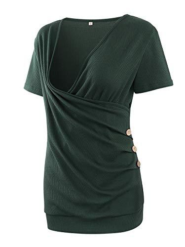 Love2Mi Nursing Tops Short Sleeve V-Neck Waffle Nursing Tunic Breastfeeding Shirts(Hunterbr,M)