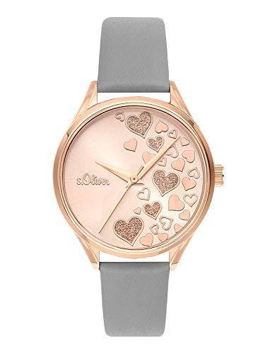 s.Oliver Time Damen Analog Quarz Uhr mit Edelstahl Armband SO-3600-LQ, rosé/grau