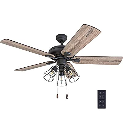 "Prominence Home 50581-01 Lincoln Woods Farmhouse Ceiling Fan, 52"", Barnwood/Tumbleweed, Aged Bronze"