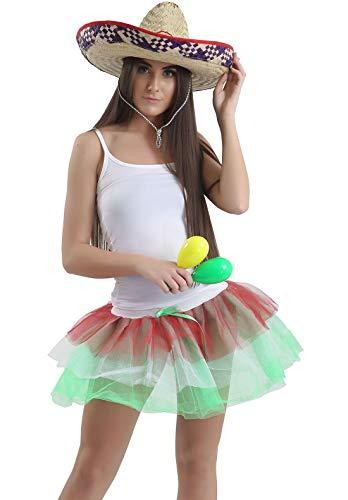 FashioN HuB Chaleco para mujer, sombrero y tut, falda para mujer, accesorio para disfraz mexicano, Reino Unido-8
