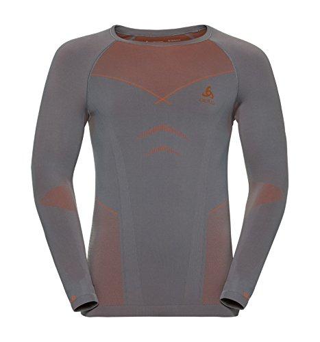 Odlo Shirt l/s Crew Neck Evolution Warm sous-vêtements Homme, Steel Grey-Orangeade, L
