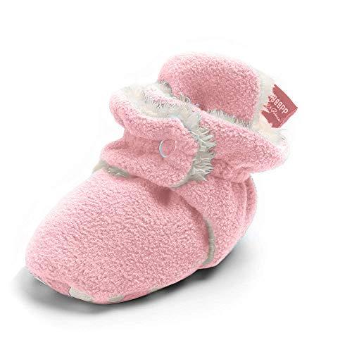 Botas unissex forradas de lã IsBasic Baby Cozie antiderrapante, sola macia, meias de inverno quentes, A/Pink, 0-6 Months Infant