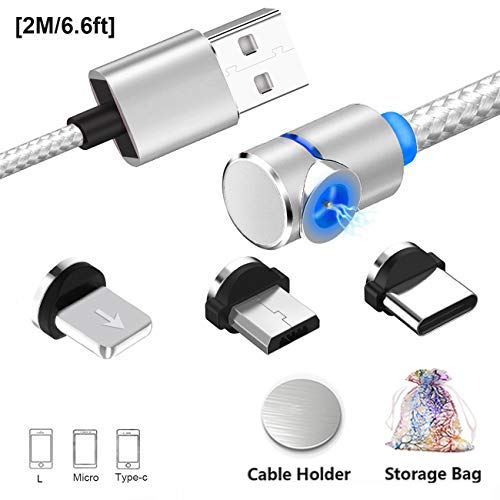 Magnetisches USB Ladekabel, Multi 3-in-1 Kabel Ladegerät mit LED für Handy/Android Phone Micro-Lighting-Typ C - No Sync Data