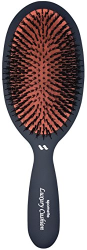 Spornette Large Luxury Cushion Boar and Nylon Bristle Oval Brush (#LX-1) with a Soft Satin No-Slip Handle Best Used for Styling, Smoothing and Straightening All Hair Types, Wigs and Extensions