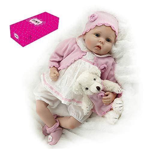 homese Decdeal Reborn Babypuppe 22 Zoll süßes Gesicht realistische weiche Note Baby Girl Dolls Baby Geschenke Geburtstag Set mit rosa Pullover Hut und Bär Spielzeug