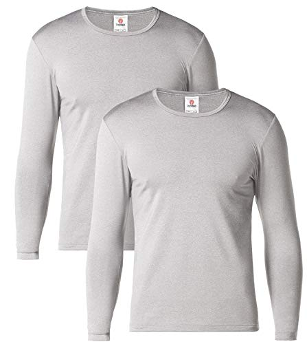 LAPASA Men's Lightweight Thermal Underwear Tops Fleece Lined Base Layer Long Sleeve Shirts 2 Pack M09 (Large, Grey)