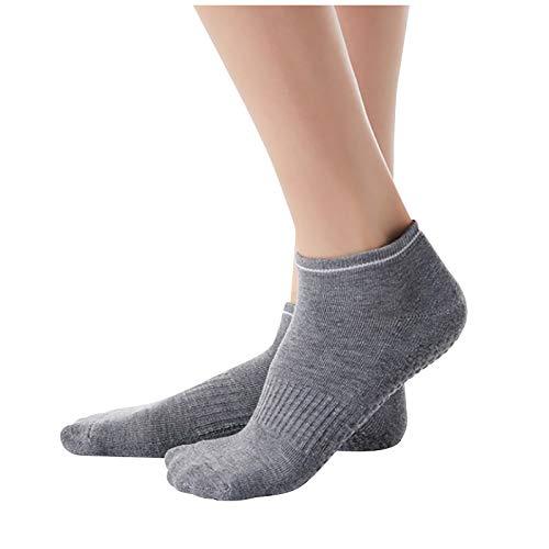 URIBAKY - Calcetines cortos para mujer de yoga en esponja antideslizante, calcetines de danza de ballet, transpirables gris Talla única