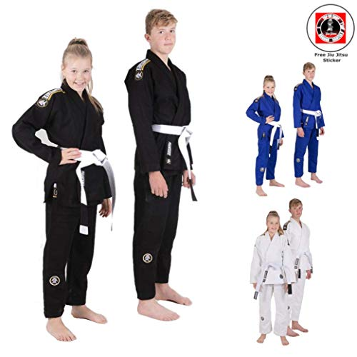 Tatami Kinder BJJ Gi Nova Absolute für Junge Athleten - Kinder Kids BJJ Jiu Jitsu Anzug Gi Kimono Für Jungen und Mädchen - IBJJF konform - inkl. weißem Gürtel und BJJ Sticker (Blau, M3)