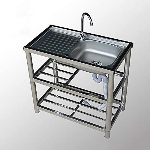 XHNXHN Fregadero de cocina Lavabo simple Lavavajillas con soporte Banco de trabajo extraíble 3 capas estante de almacenamiento de acero inoxidable con grifo giratorio 360°