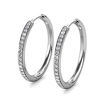 St.Claire Earrings For Women 18K Gold Plated Hoop Swarovski Crystal Drop Dangle Earrings Best Silver Hoops for Women Sparkle Round Hoops for Ladies Hoop Earrings Lightweight