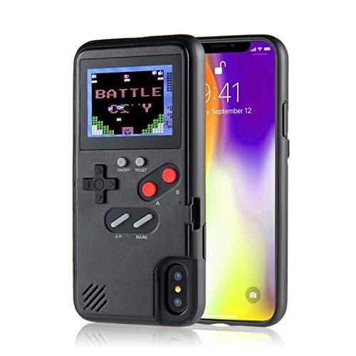 Volwco - Funda de Gameboy de silicona para iPhone X, XS, XX, XR, iPhone 8/8 Plus, iPhone 7/7 Plus, iPhone 6/6Plus, con 36 juegos, silicona plástico abs TPU, negro, IPHONE X/XS