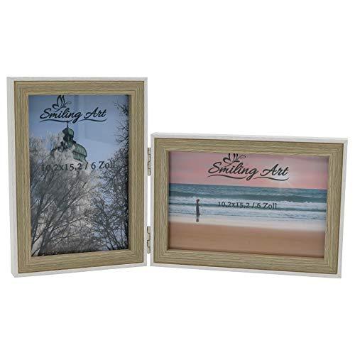 Smiling Art Bilderrahmen für 2 Fotos aus MDF Holz mit Glasscheibe, klappbarer Bilderrahmen, Doppelrahmen in Querformat und Hochformat (Weiß+Beige, 2x10x15 cm)