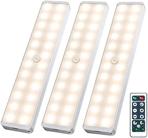 Racokky LED Schrankbeleuchtung mit Bewegungsmelder, Wiederaufladbar Schranklicht mit Fernbedienung,24er LED Nachtlicht,Warmes Licht für Küche,Kleiderschrank,Treppe,Verschiedene Räume(3 Stück)