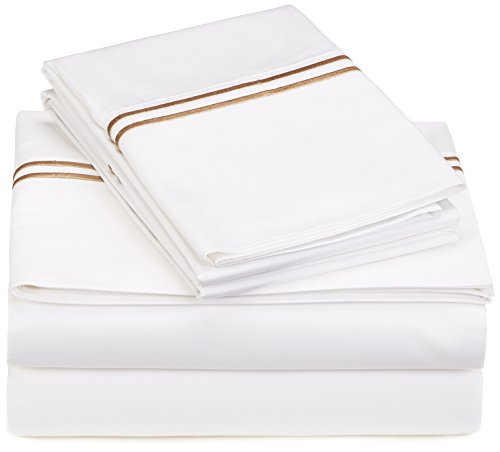 Pinzon 400-Thread-Count Hotel Stitch Sheet Set - Queen, Taupe Stripes
