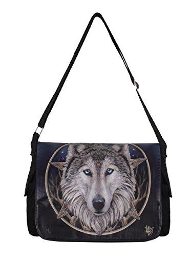 Bolso bandolera, diseño gótico con lobo