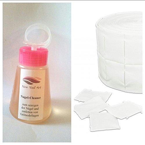 New Nail Art Kit distributeur avec nettoyant 150 ml + 50 cotons de cellulose Pompe avec liquide nettoyant pour ongles, enlever la couche de sudation, utilisable comme dissolvant pour vernis à ongles