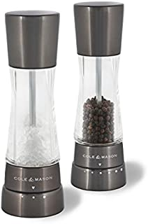 Cole & Mason Gourmet Precision Derwent Gun Metal Salt and Pepper Mill Gift Set, Steel and Acrylic, 19 cm