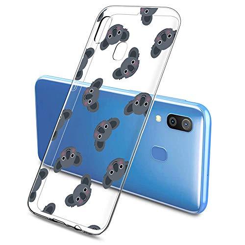 Suhctup Funda Compatible para Samsung Galaxy M30/A40S,Carcasa Transparente Dibujos Animal Suave Silicona TPU Gel Bumper Ultra Pulgada Antigolpes Crystal Clear Protector Piel Case Cover,Pereza 8