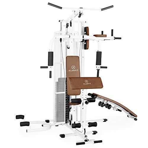 Klarfit Ultimate Gym Kraftstation - multifunktionale Fitnessstation, Trainingsstation, Ganzkörpertraining, inkl. Gewichten, 50 unterschiedliche Übungen, weiß