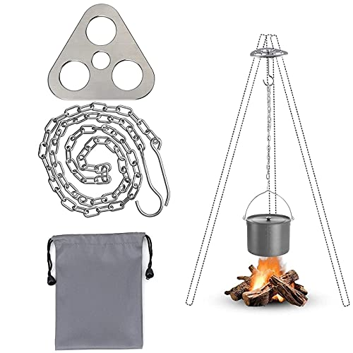 Campfire Tripod Grill Equipment, Camping Tripod Grill Board Portable Stainless Steel Camping Cooking Gear Accessories with Adjustable Chain for Hanging Cookware Camping Outdoor Cooking