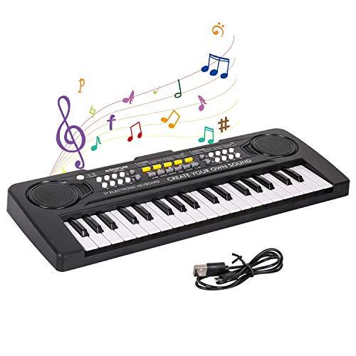 Shayson Pianola Bambini Musicale Tastiera per Bambini 37 Tasti Tastiera Elettronica Tastiera Portatile Pianola Multifunzione Mini Tastiera Music Giocattolo Educativo Per Bambini Regalo43*16*5 cm(Nero)