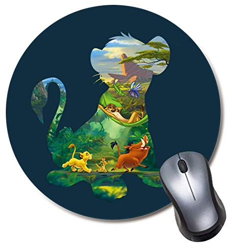 Computer Gaming Mouse Pad Non-Slip Rubber Material Round Mouse Mat for Office and Home Laptop Desktop Mousepad (8 Inch) - Disney Hakuna Matata Lion King