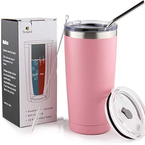 Sivaphe Reisebecher Kaffeebecher Edelstahl Isolierte Kaffeetasse Camping Doppelwandige Isolierflasche mit Stroh und Deckel Rosa 550 ML