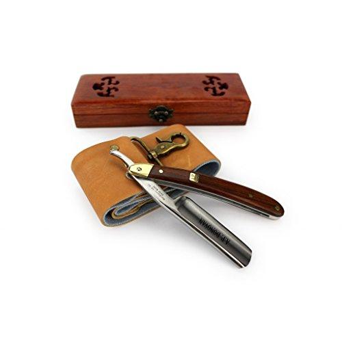 """A.P. Donovan - Profesional 7/8 """"maquinilla de afeitar con Caoba - incluyendo caja de madera práctica - con correa de cuero + pasta abrasiva"""