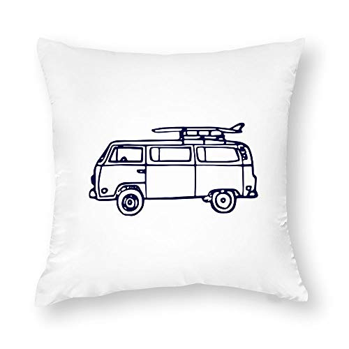 Decorative Pillow Case, Throw Pillow Cover- Navy VW Bus- Surf Pillow Cover - Home Decor - Summer Pillow Cover - Surf Decor - Beach Room Decor Cushion Case for Sofa Bedroom Car Couch, 20 x 20 Inch