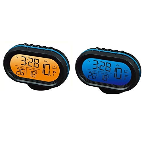 Yosoo 1 Pcs 12V Car Digital Thermometer Voltmeter Clock Alarm Monitor, Multifunctional Auto Meter Clock Voltage Freezing Temperature Gauge, Clock LCD Monitor Battery Meter Detector LED Display (Blue)